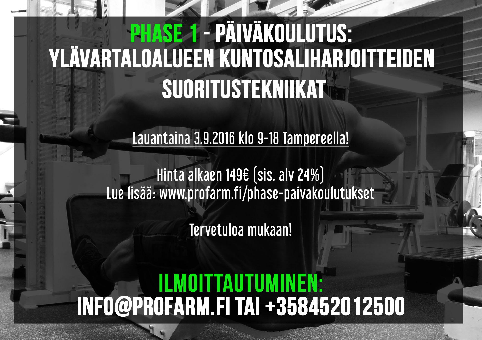 Kuntosaliharjoitteiden koulutus Tampereella (sisältää mm. kulmasoudun suoritustekniikan)