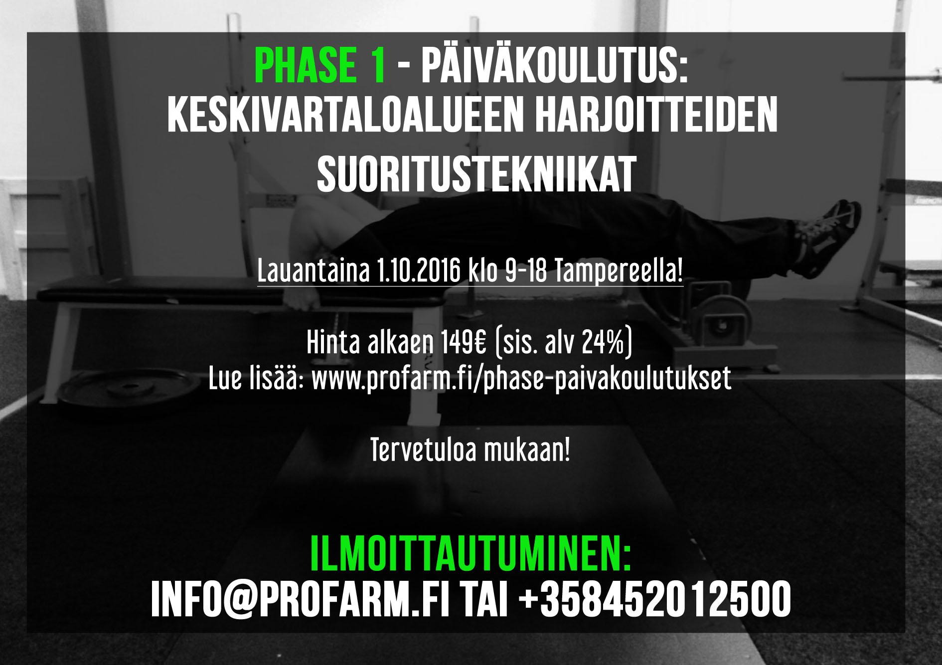 Keskivartaloharjoitteiden koulutus Tampereella
