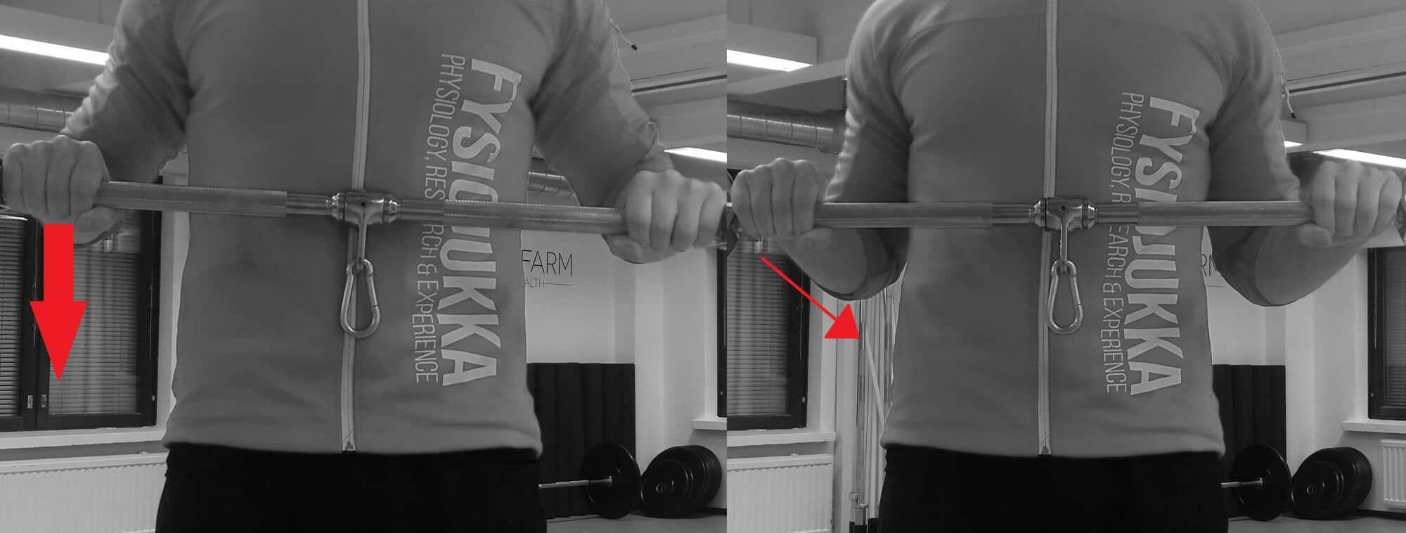 Soutu, käsivarren linjaus