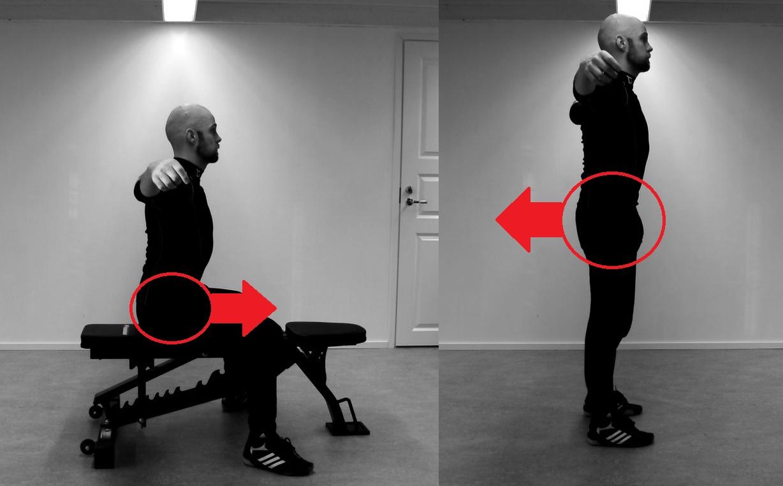 Ylävartalon sivutaivutus (istuen vs. seisten)