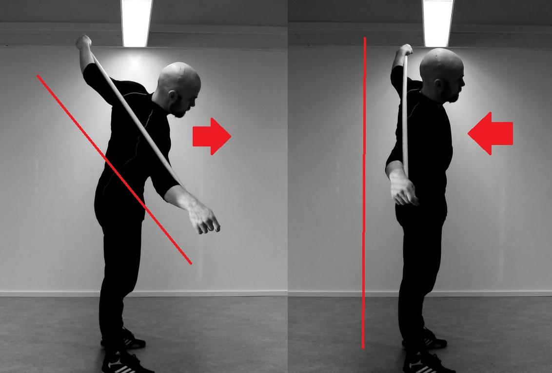 Ylävartalon sivutaivutus (ylävartalon asento venytysvaiheessa)